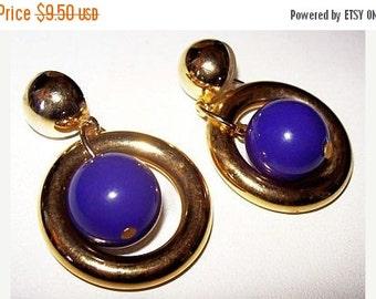 Fashion Dangle Earrings Purple Beads Gold Metal Hoop Circles Pierced Ears Post Backs 2 in Vintage