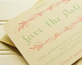 Coral and Mint Save the Date: Rustic Save the Date Cards in Mint, Coral, and Cream.  Bold Fonts. Mint Coral Wedding