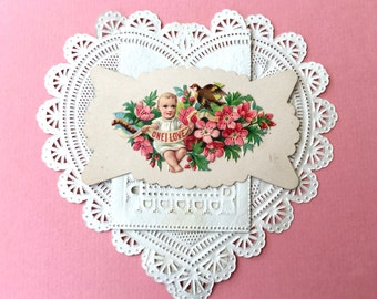 """Sweetest Victorian Calling Card-""""One I Love""""-Baby, Cherry Blossoms, Bird"""