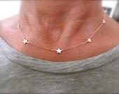 Station rose gold star necklace - mini star necklace -  14K rose gold-filled chain  - rose gold star necklace  - teeny tiny star -