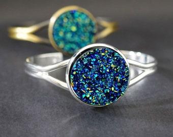 FAUX BLUE DRUZY Sleek Cuff Bracelet - Brushed Bronze or Silver Plated - Ajustable