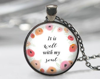 It Is Well With My Soul Necklace, Floral Wreath Pendant, Hymn Jewelry