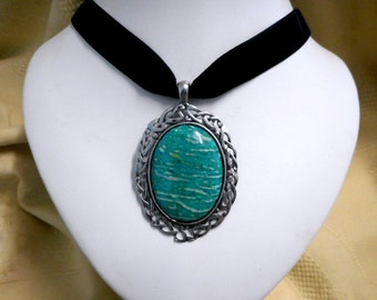 Russian Amazonite Pendant necklace black Velvet Choker Gothic Victorian steampunk Scottish Celtic large healing  jewelry womens accessories