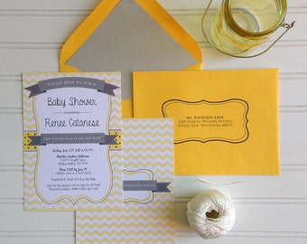 Baby Shower Invitation - Yellow and Grey Digital Print, Chevron Baby Shower Invite