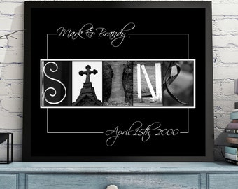 FRAMED or UNFRAMED Letter Art / Alphabet Photo name sign.  Custom and personalized wedding, house warming, and anniversary gift. FREE Proof