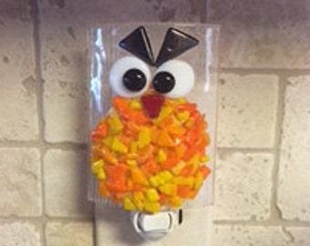 Nightlight Fused Glass CrazyEyed Monster Orange/Yellow
