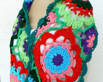 Multicolor shawl crochet, Lace Spring scarf, stunning neck warmer, Colorful stole, Cozy wrap,  Rainbow handmade shawl, Flower granny scarf