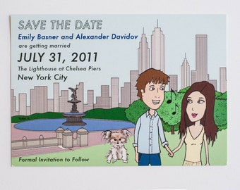 Custom Cartoon Save the Date Illustration