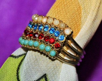 EARLY MULTISTONE RING Pearl Turquoise Ruby Topaz c1945