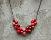 Wooden bead necklace, red, claret, bib necklace, contemporary, red bib necklace.