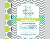 Vintage Twins Baby Shower Invitations Boys Double Joy Invite Grey Chevron Chalkboard with Navy and Aqua Printable or Print 5 x 7 (TWINSN)
