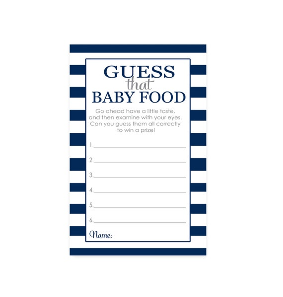 Items Similar To Navy Stripe Guess The Baby Food Game