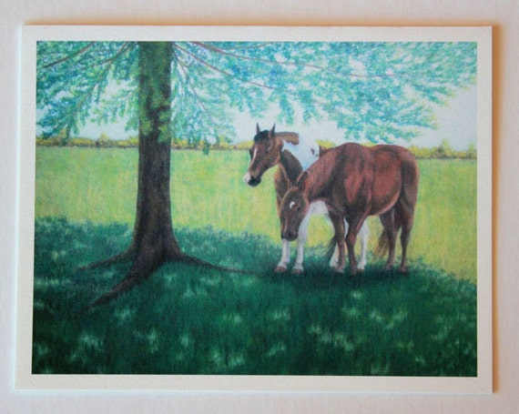Siesta, note card, blank greeting card, horse art, fine art greeting cards, single card, equestrian art, farm art, rest and peace, pasture