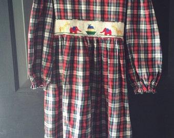 Vintage plaid Smocked dress noahs ark embroidery 6x