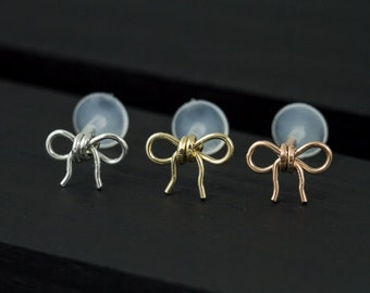 Cutie bow push in 16gauge bio flexible Tragus / Helix / Cartilage