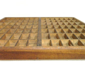 Vintage Letterpress Drawer Printers Tray Wood Divided Tray
