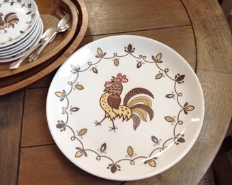 Chanticleer Rooster Chop Plate // Platter Made in Japan Vintage Rooster Round Platter