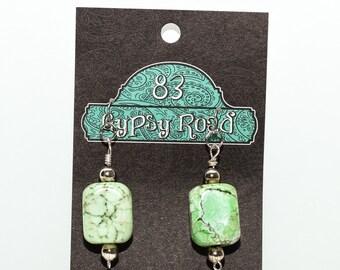 E113 - Green Magnesite Earrings