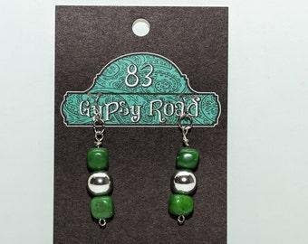 E075K - Green & Silver Ball Earrings