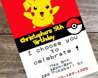 Pokemon Invite | Pokemon Invitations | Pokemon Party | Pokémon, Party Invitations | Kids Party Invitations