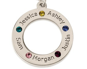 Family Name Necklace Charm Custom Engraved & Swarovski birthstone Crystal Circle names Pendant New Personalized mothers Jewelry Gift