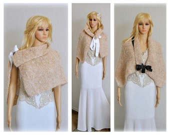 Handmade Bridal Cape Wedding Cover up Convertible Scarf Poncho Stole Brides Accessories Mohair Nude Beige