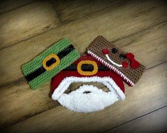Santa Elf Beard and Gingerbread Ear Warmers - Crochet Pattern 79 - Crochet Tutorial - Headband - Instant Download