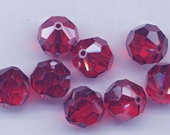 "12 Swarovski crystals with ""satin"" effect - light siam satin - 8 mm"