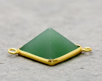 Green Aventurine Pyramid Connector Pendant Link 24K Gold Plated Brass Bezel Geometric Boho Gem Green Pendant Jewelry Making Supplies(AN056)