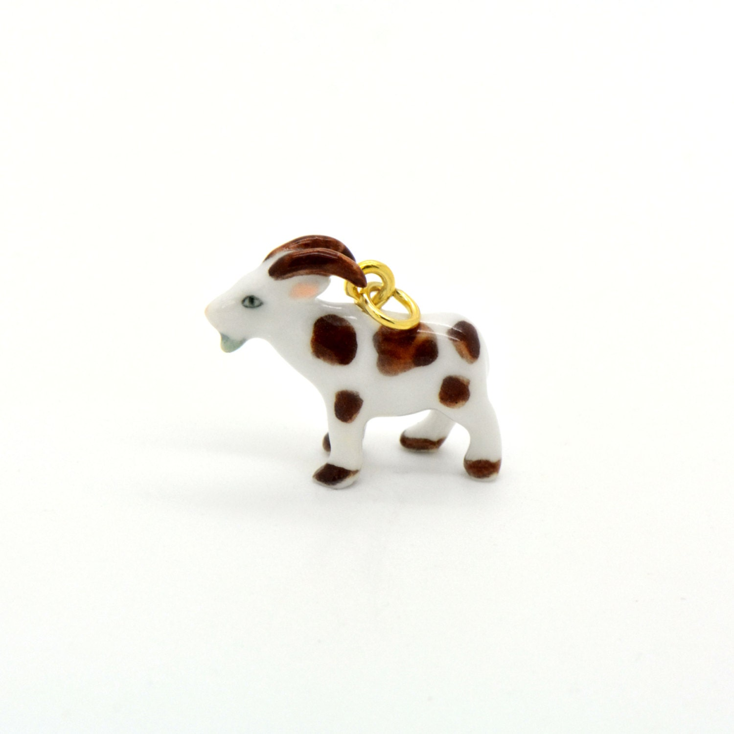tiny porcelain goat charm miniature goat pendant painted