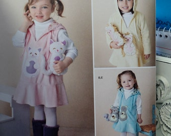 """Simplicity Toddler Girl Fleece Dress or Jumper with 7 1/2"""" Stuffed Animal. Simplicity 1288. Size 1/2 - 4. Pattern is new and uncut."""