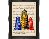 DALEK in Many Colors Doctor Who Geek Print on an Unframed Upcycled Bookpage