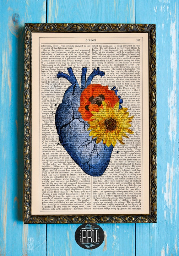 Blue Hearts and Bright Flowers Original Print on an Unframed Upcycled Bookpage