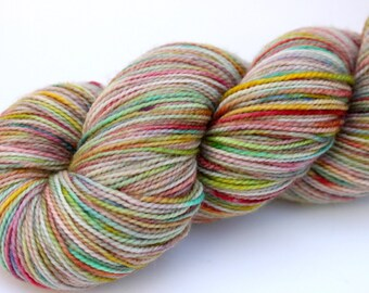 "Kettle Dyed Sock Yarn, Superwash Merino and Nylon Fingering Weight, in ""Meadow"""
