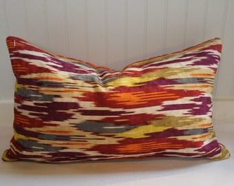 IN STOCK / Rust, Orange, Gold, Purple Geometric Ikat with Orange Velvet Back Pillow Covers