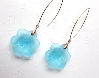 Turquoise Sea Glass Flower Earrings on Rose Gold Long Earwires