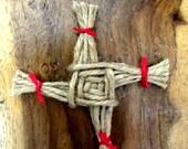 Handmade St.Brigid's Cross . Pagan Imbolc Home Blessing Amulet . Altar Piece. Car Amulet. Card Topper.