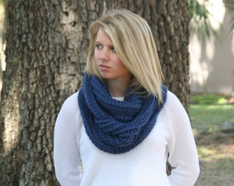 FLASH Sale Infinity Scarf Baby Alpaca Cowl Scarf Ribbed Crochet Scarf The London Navy
