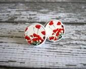 Red Poppy Earrings : Wooden Studs Embossed
