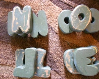 Vintage wooden craft letters.  Noel.  Loen.  Chunky letters.  Lot of four.