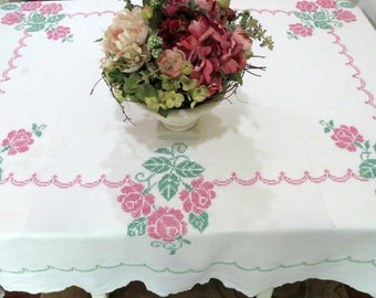 Large Hand Embroidered Tablecloth, 84 x 70, Vintage Linen Tablecloth, Pink Green Roses, Cottage Chic, Vintage Linens by TheSweetBasilShoppe