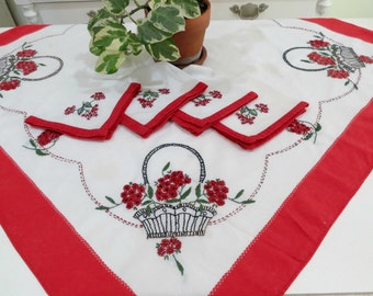 Hand Embroidered Tablecloth w 4 Matching Napkins, Vintage Luncheon Cloth, Red White Floral Design, Vintage Linens by TheSweetBasilShoppe