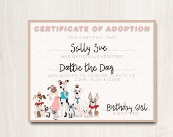 Hipster Dogs Adoption Certificate - Puppy Adoption certificate - Party Supplies - INSTANT DOWNLOAD