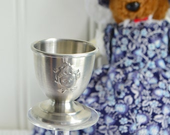 Child egg cup, vintage Norwegian pewter, kids breakfast tool, fairytale motif