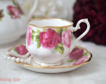 Royal Albert Old English Rose Teacup And Saucer, English Bone China Tea Cup Set, Replacement China, ca. 1950
