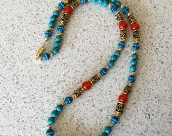 Southwestern Style Mosaic Turquoise & Carnelian Bead Necklace