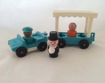 Vintage Fisher Price Zoo Tram or Circus Trolly Two Part Passenger Trolley With Driver, Passenger and Ringer Master with Top Hat