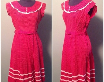 ON SALE Vintage 1950s Womens Short Sleeve Mid-Length Red Dress with Tiny White Dot Pattern and Matching Belt