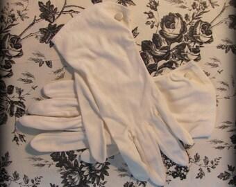 ON SALE Vintage Womens White Nylon Dress Gloves Wrist Length Bridal with Button Detail