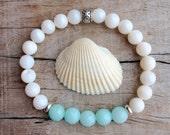 shell bracelet, bohemian jewelry, beach bracelet, beachcomber crystal healing bracelet